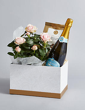 Sparkling Wine Roses In Gift Box